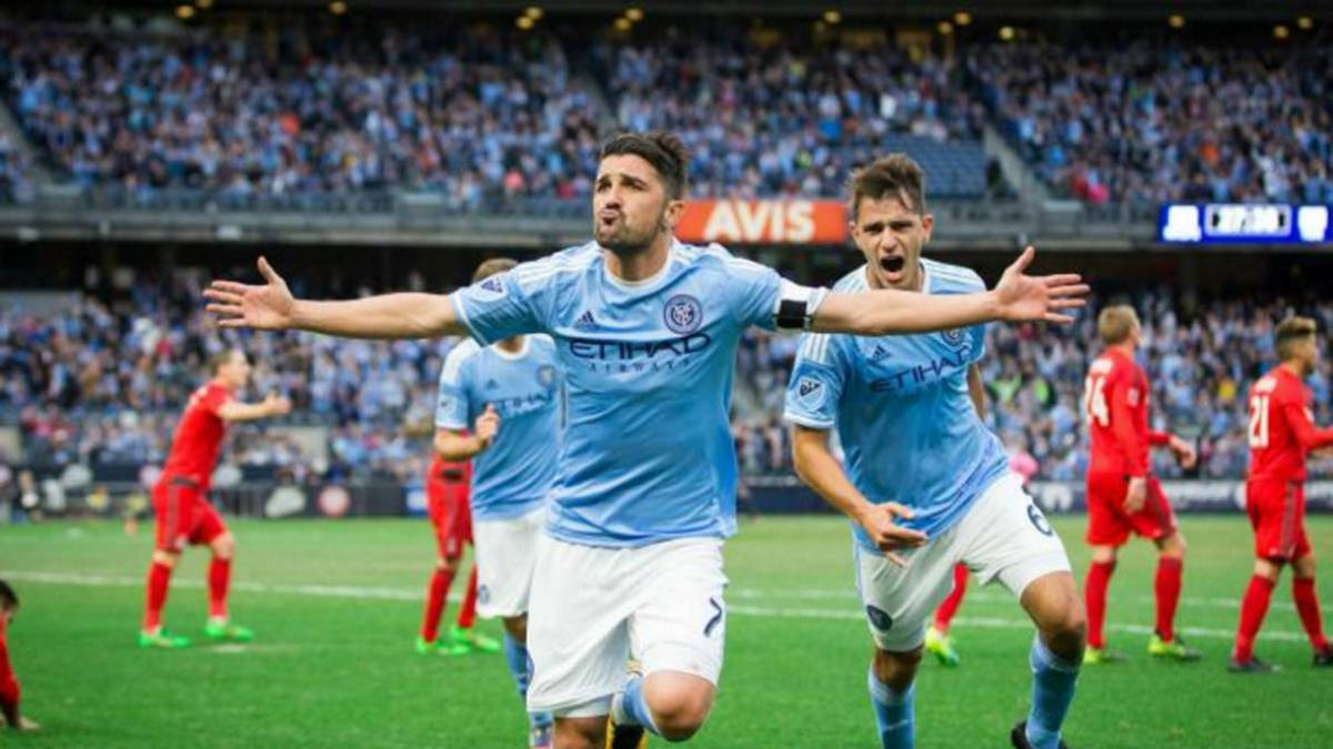 David Villa celebra un gol con el New York City.