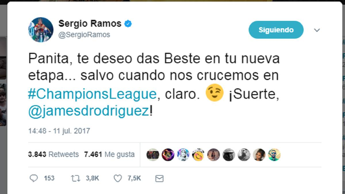 Ramos says goodbye to James, wishes him all the best
