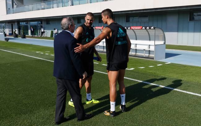 Cristiano, Benzema y Florentino.