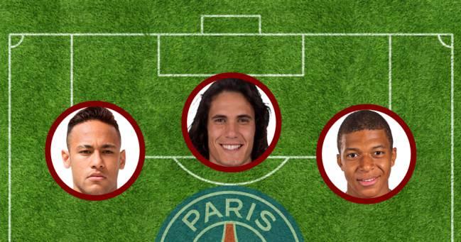 Neymar, Cavani y Mbappé.