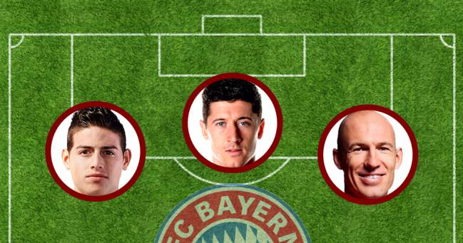 James, Lewandowski y Robben.