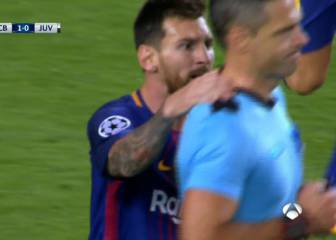 Messi protests furiously, grabs ref, gets yellow card