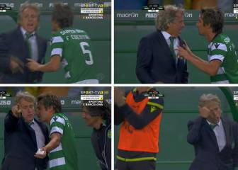 Coentrão and Jorge Jesus involved in touchline spat