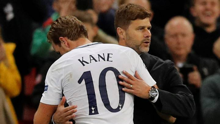 Harry Kane y Mauricio Pochettino.