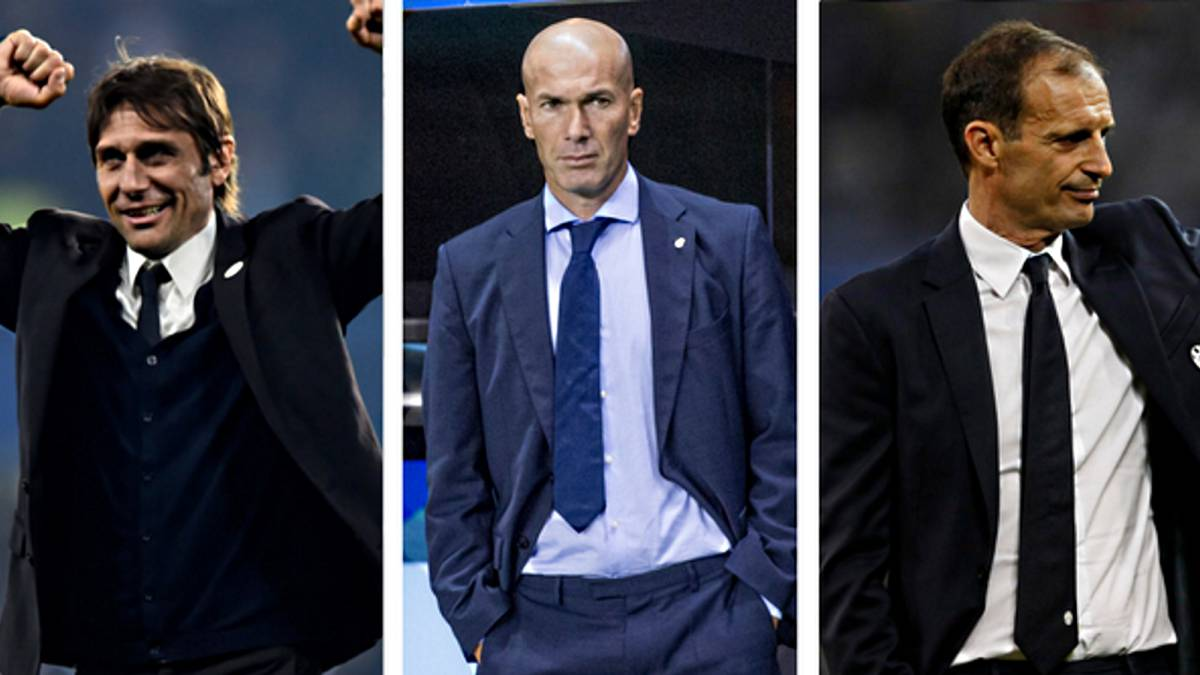 Conte, Zidane y Allegri, nominados al The Best al mejor entrenador.