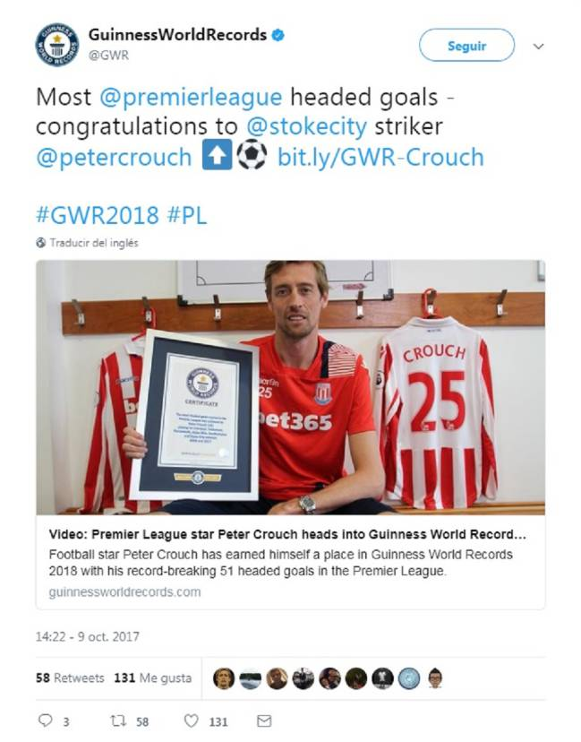 Crouch, del Stoke City, recibe el premio de Guinness World Records.