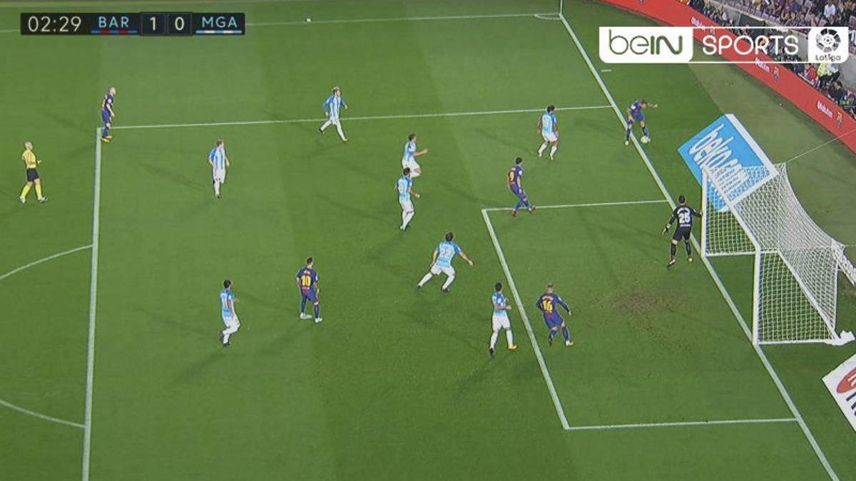 Barcelona score after ball was clearly out for goal-kick