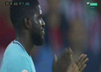 Umtiti lucky to avoid a second booking for sarcastic clapping