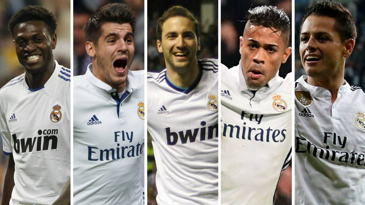 Adebayor, Morata, Higuaín, Mariano y Chicharito con el Real Madrid.
