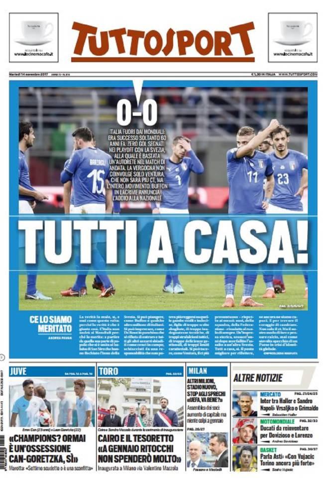Portada del diario Tuttosport del día 14 de noviembre de 2017.