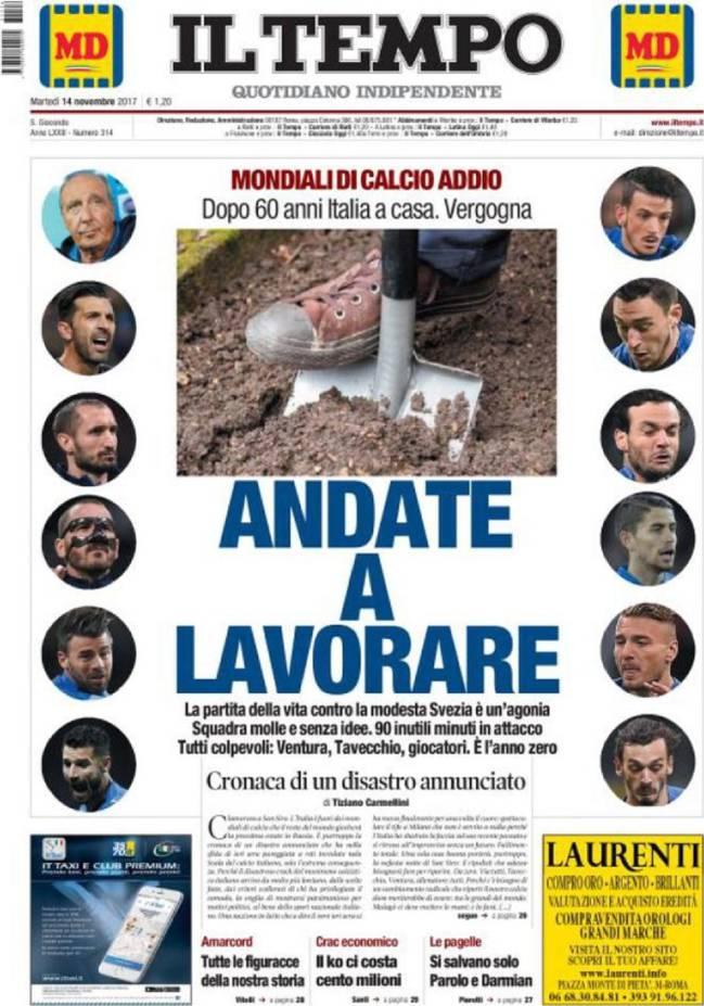 Portada del diario Il Tempo del día 14 de noviembre de 2017.