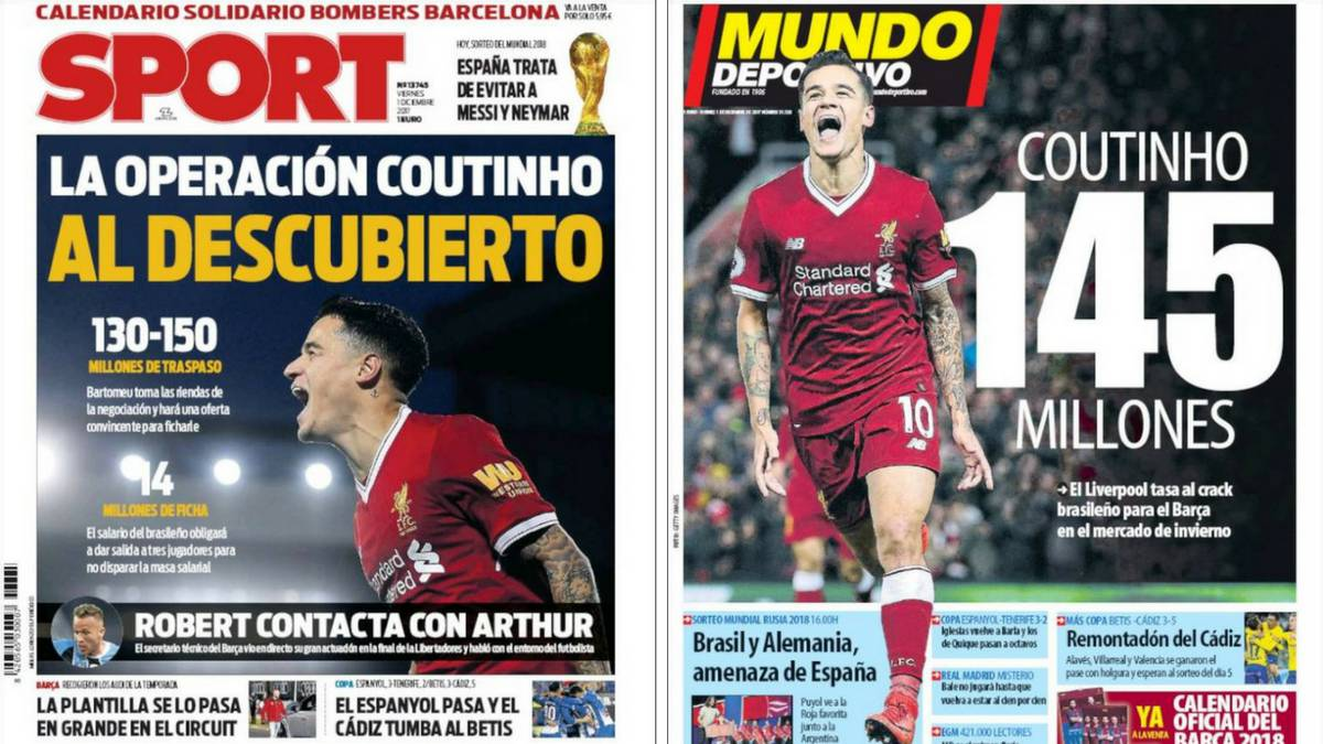 Front covers of Sport and Mundo Deportivo on 1st December 2017