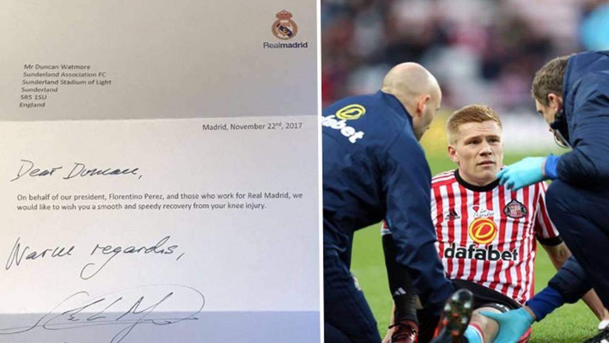 Una carta del Madrid emociona a un jugador del Sunderland