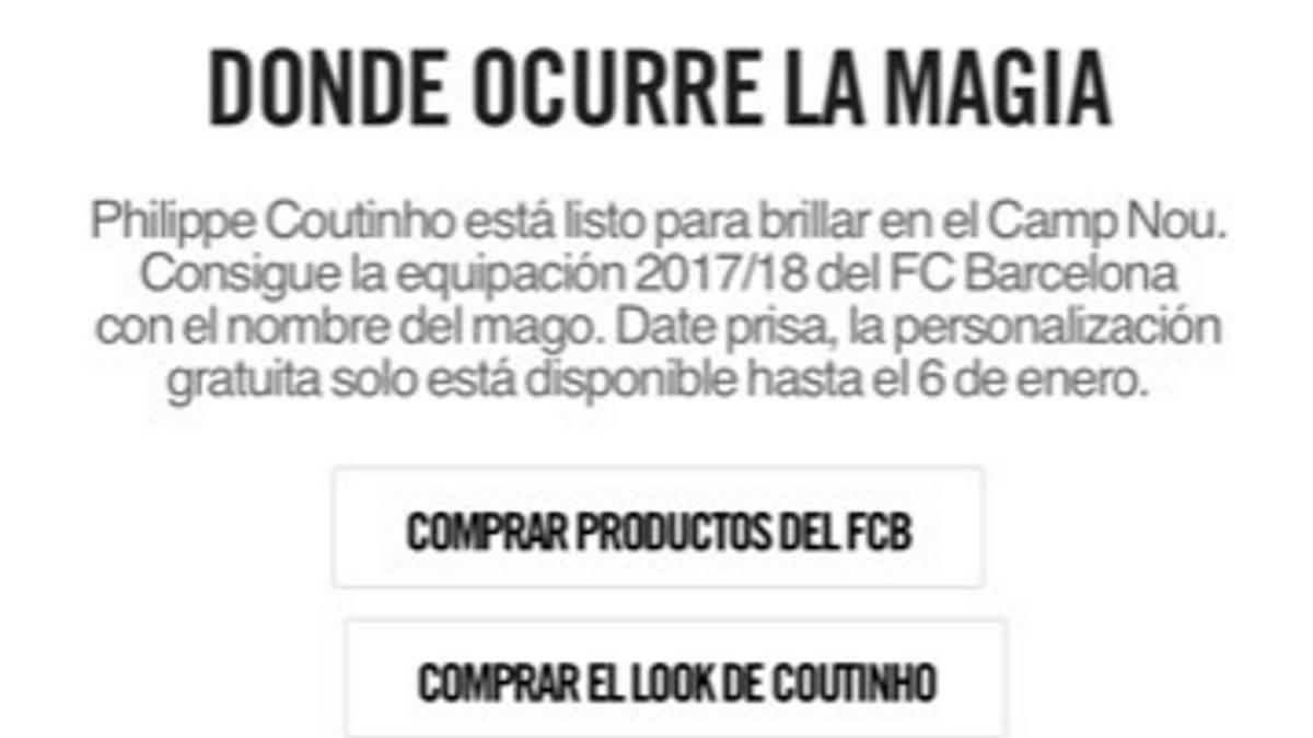 Nike anuncia por error el fichaje de Coutinho por el Barça