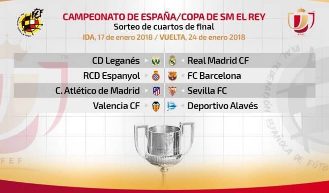 Resultado del sorteo de cuartos de final de Copa del Rey ...