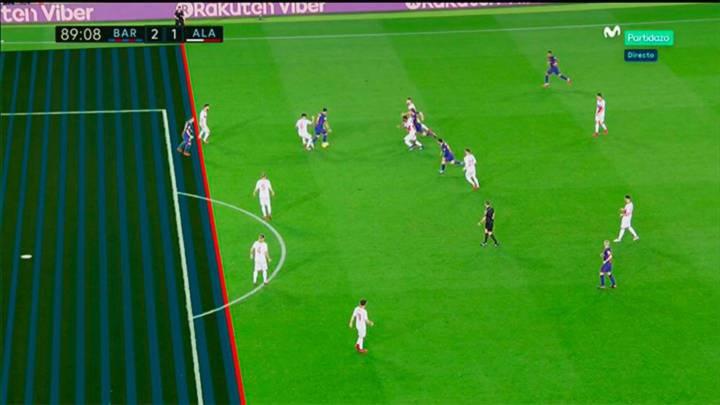 La falta del gol de Messi estuvo precedida por un fuera de juego.