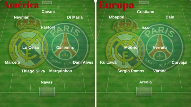 Los onces de América y Europa formados por jugadores de Real Madrid y PSG.