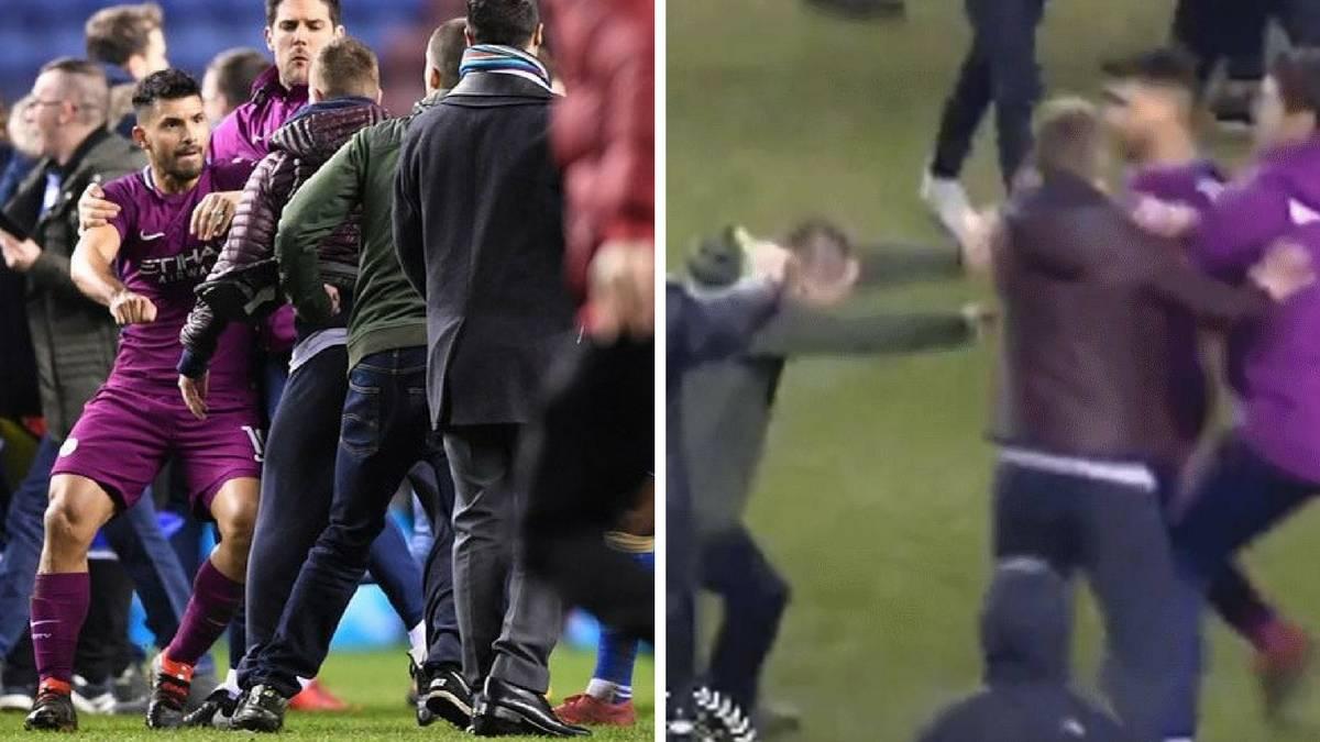 Agüero se enfrentó con un hincha del Wigan y le golpeó