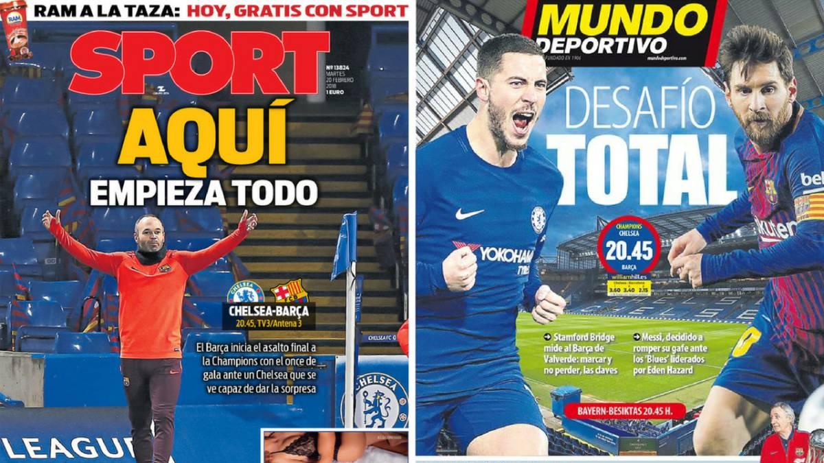 Portadas de 'Sport' y 'Mundo Deportivo' del martes 20 de febrero de 2018.