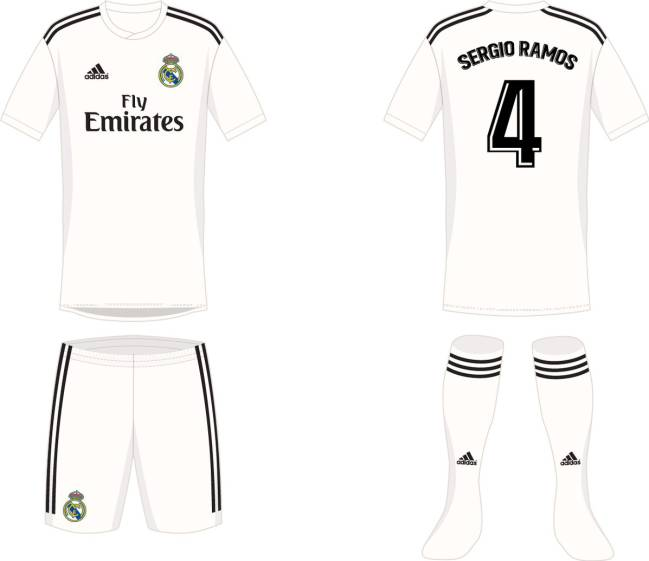 Modelo de la equipación local del Real Madrid.