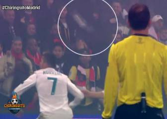 Cristiano almost hit by PSG bottle while celebrating goal