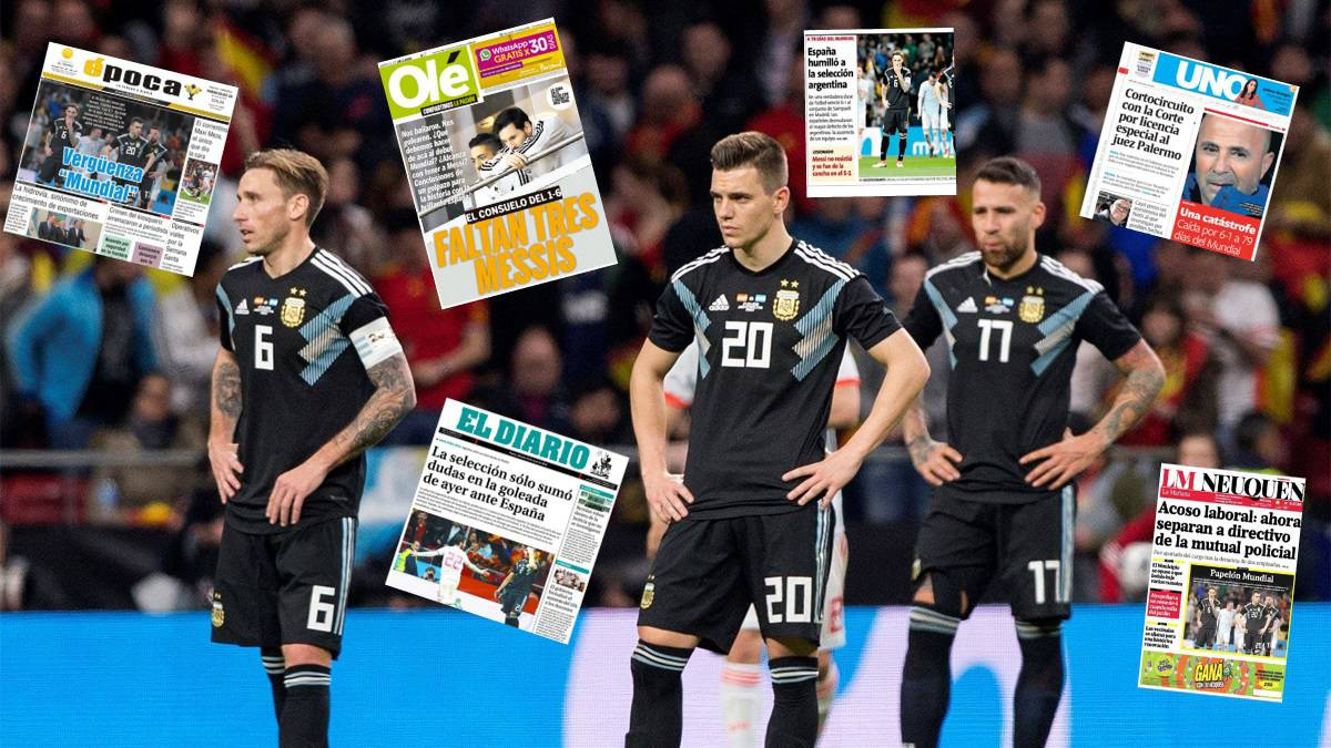 Argentina's press goes ballistic after 6-1 thrashing by Spain