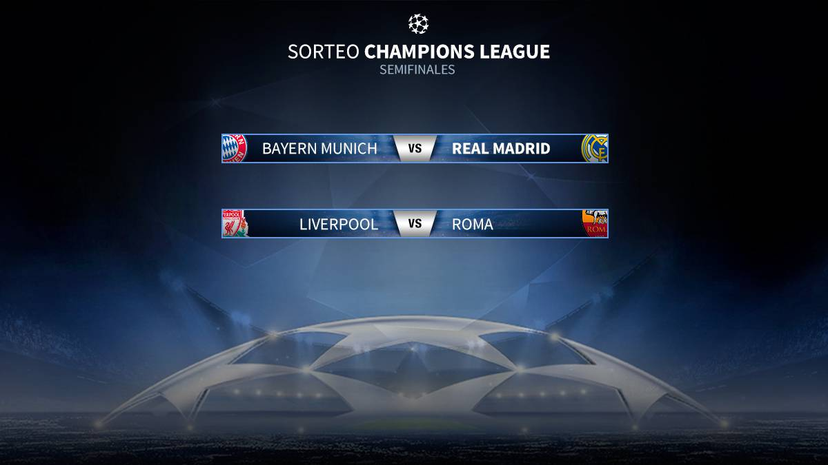 Sorteo Champions: Bayern-Real Madrid y Liverpool-Roma, semifinales ...