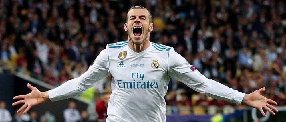 Bale celebró así el 2-1 ante el Liverpool.