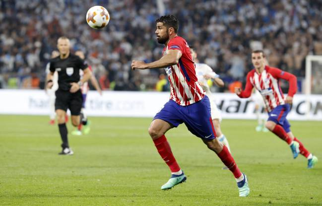 Diego Costa en la final de la Europa League con el Atlético.
