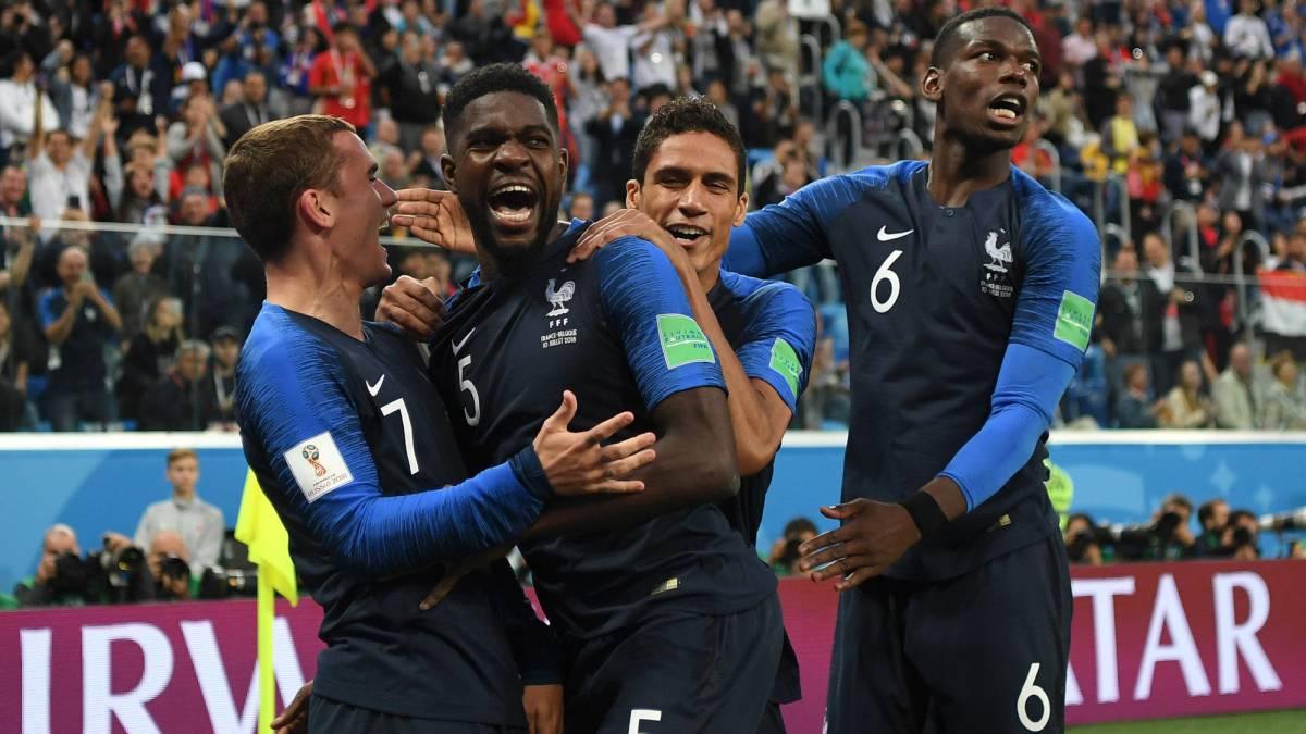 Umtiti celebra su gol ante Bélgica.