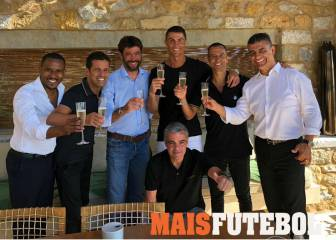 Salute!: Ronaldo and Agnelli share a toast in Greece