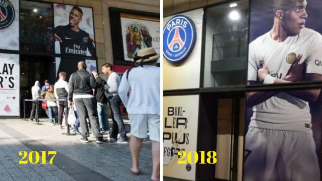 La tienda oficial del PSG en 2017 con Neymar de imagen y en 2018 con Kylian Mbappé.