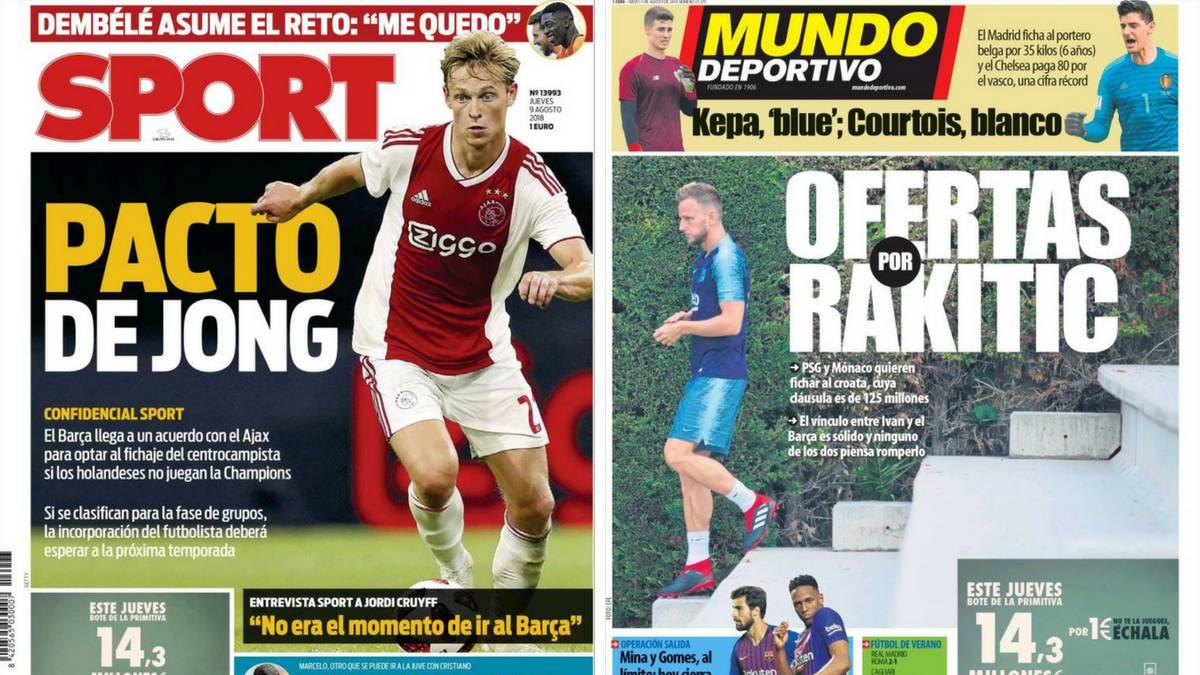 Portadas de los diarios Sport y Mundo Deportivo del día 9 de agosto de 2018.