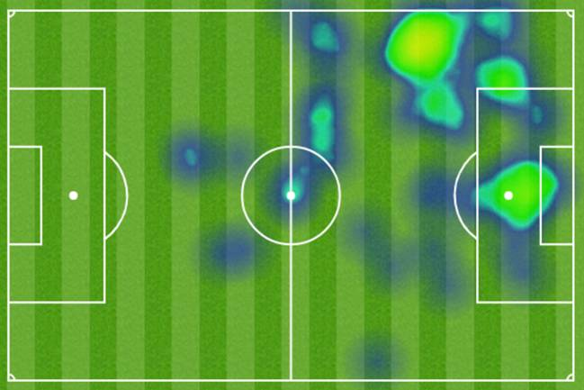 Heat map for Cristiano Ronaldo vs Chievo.