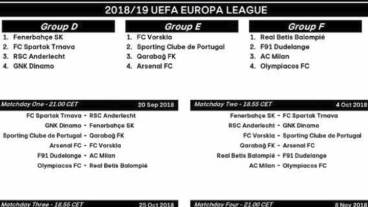 Calendario y horarios de la Europa League 2018/19