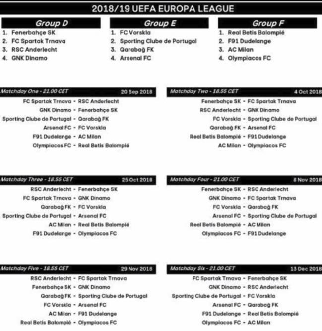 Calendario Milan Europa League.Calendario Y Horarios De La Europa League 2018 19 As Com
