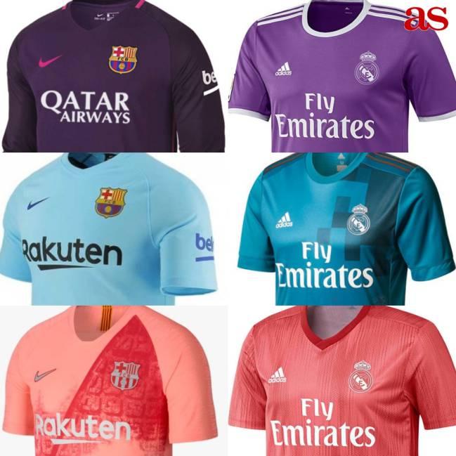 Evolución de las camisetas suplentes de Barcelona y Real Madrid desde la  temporada 2016-2017 2fc0ee938586d