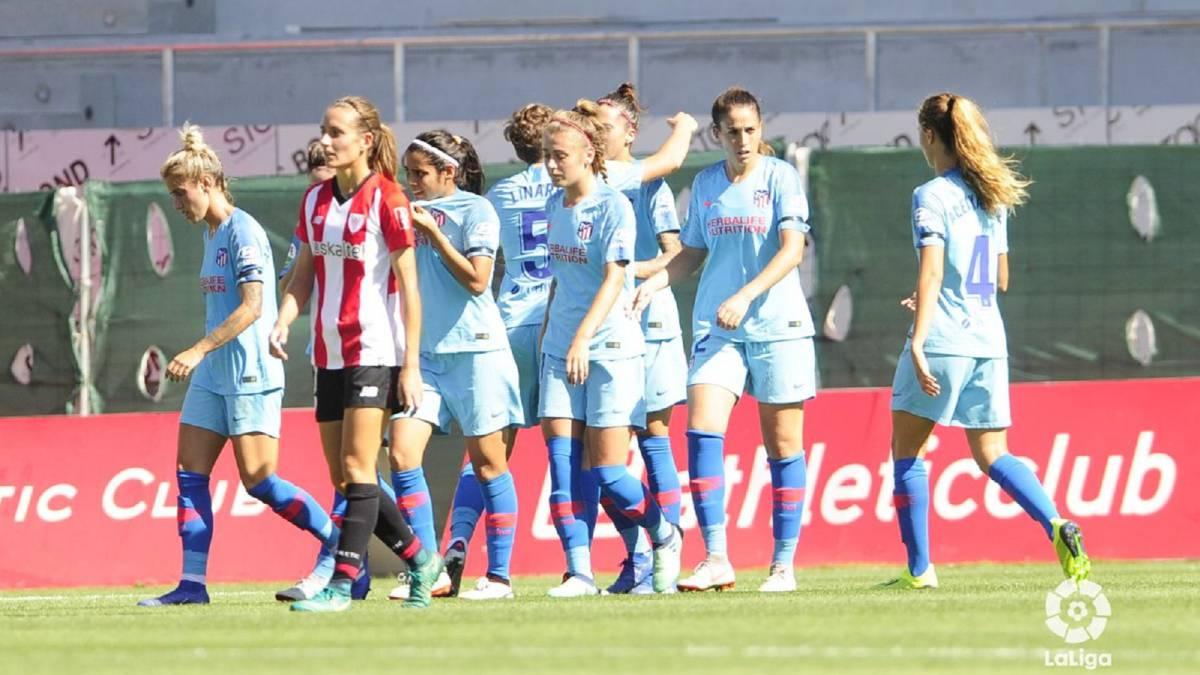 El Atlético Féminas celebra un gol ante el Athletic.