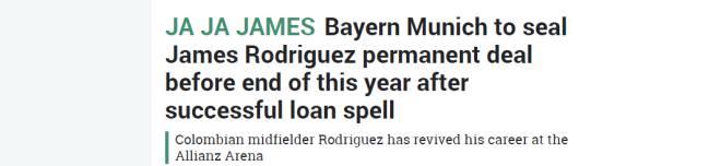 "Titular del diario británico The Sun: ""Ja Ja James""."
