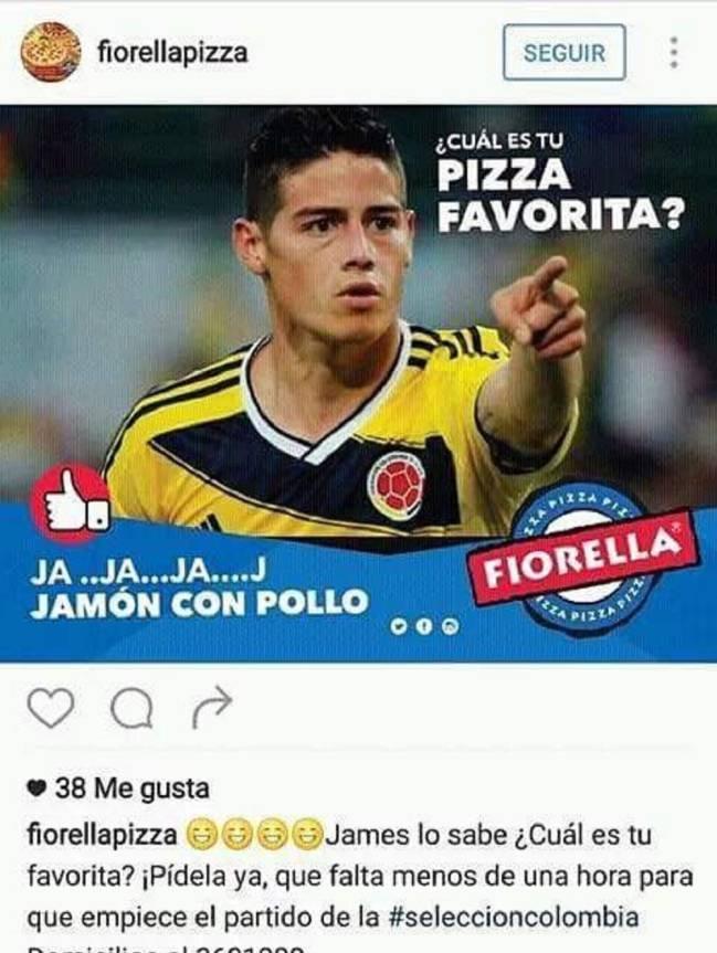 """El anuncio de la pizzería en el que se burlan de James: """"Ja ja jamón con pollo""""."""