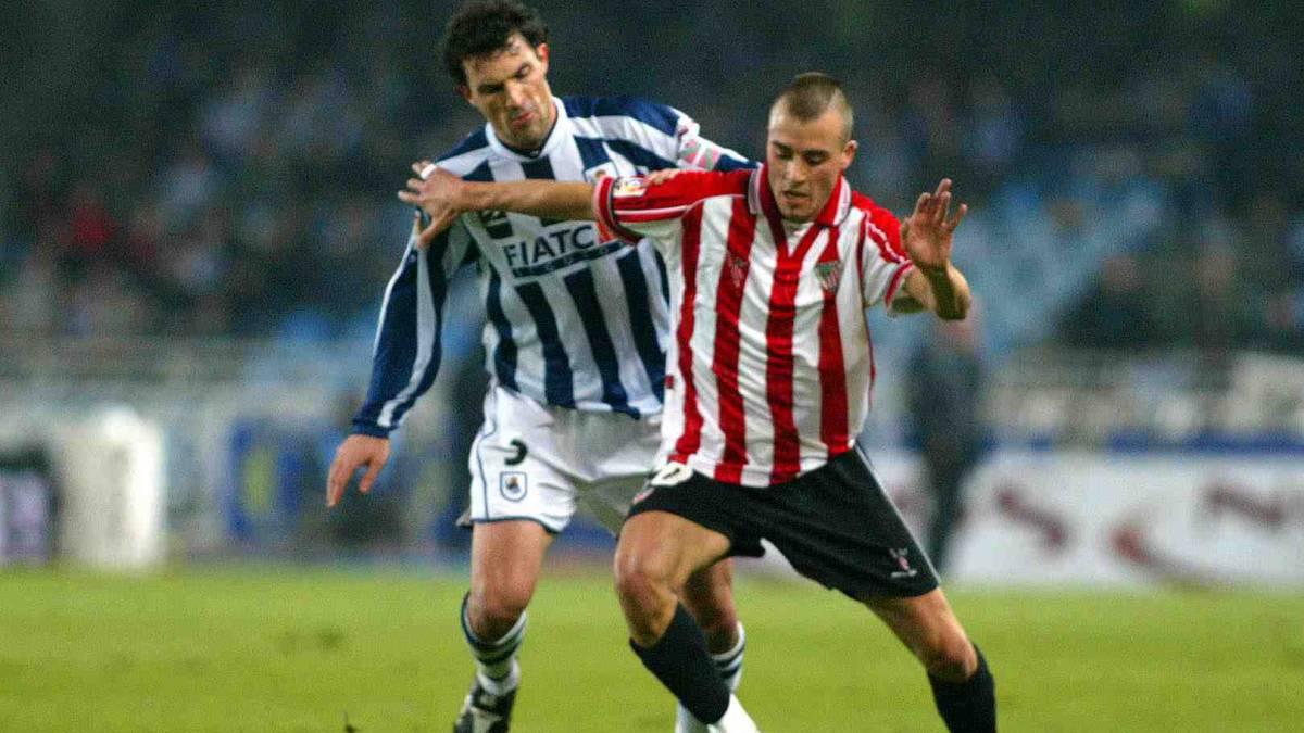 Fran Yeste durante un derbi entre el Athletic y la Real Sociedad.