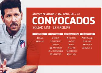 Simeone announces patched up Atlético squad for Betis