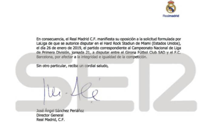 Carta del Real Madrid a LaLiga.