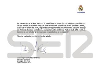 Real Madrid utterly opposed to LaLiga's plan to play match in the USA