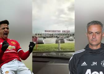 A Mou dawn: Alexis arrives at Utd training ground listening to