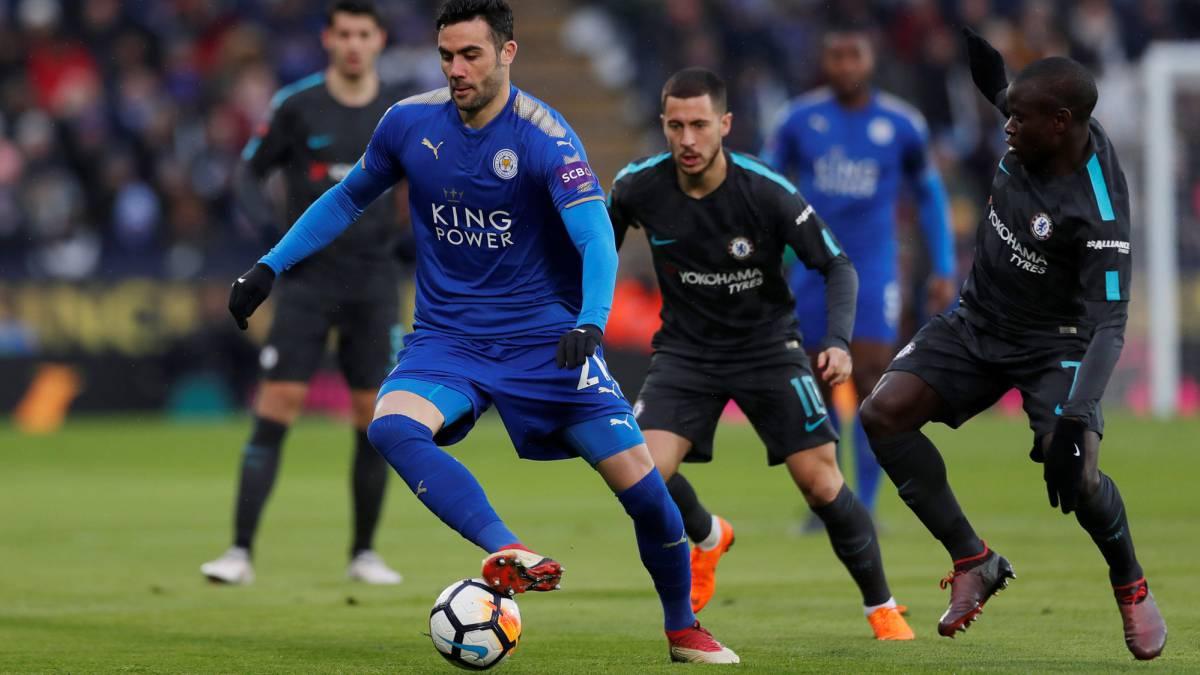 Vicente Iborra, con el Leicester.