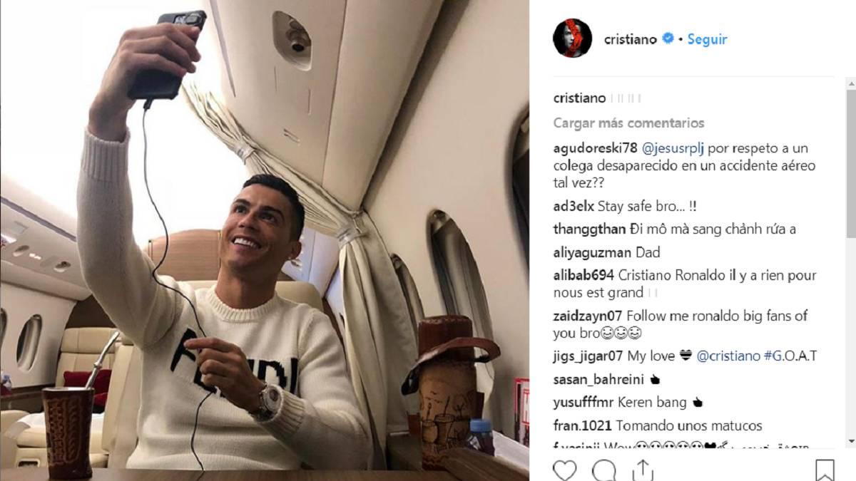 Cristiano, criticado por un selfie el día de la desaparición de Sala