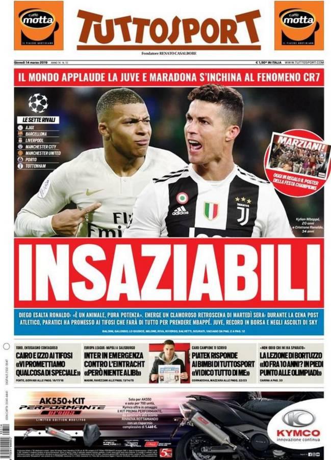 La portada de Tuttosport sobre la posible llegada de Kylian Mbappé a la Juventus