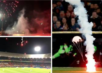 Latest crazy from Feyenoord ultras: flares fired from outside