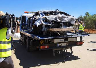 Remains of car in which Reyes was travelling removed from accident site